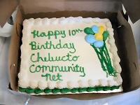 [Photo: The tenth anniversary cake.]